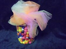 "9"" Glass Candy Jar with Pastel Colored Ribbons ""CANDY NOT INCLUDED"""