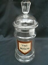 Unusual Antique ** TRO:MOSCHI. ** Chemist Shop Display Glass Jar