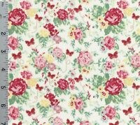 Woodland Rose Shabby Cream Pink Yellow Cotton Fabric Lecien Japan Gold Accents