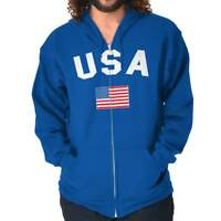 USA Flag United s Of America Soccer Team Fan  Zipper Sweat Shirt Zip Sweatshirt