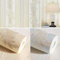 33ft Fine Flocking Embossed Stripe Non-woven 3D Wallpaper Living Room Background