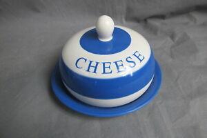Cheese dish blue & white round