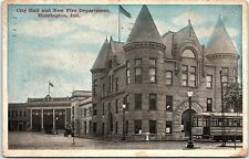Postcard IN Huntington City Hall And New Fire Department 1919 Indiana