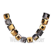 Charms Cube Square Faceted Glass Crystal Jewelry Findings Loose Beads 8mm