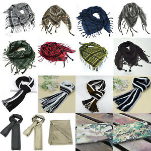 Mens & Womens Tactical Shemagh KeffIyeh Arab Scarf Striped Check Camo Scarves
