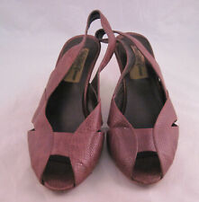 Vtg Saks Fifth Avenue Alter Ego Shoes Ladies Brown Size 5.5 M Leather Peep Toe