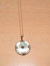 """GORGEOUS 14K Gold and Mother of Pearl Asian Pendant on 18"""" 14K Chain"""