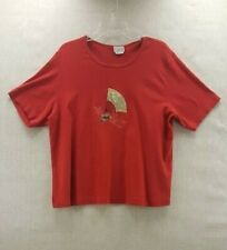Clio II Womens 3X Red Round Neck Short Sleeves Knit Ladies Asian EUC Shirt Top