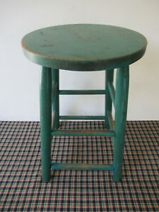 "Vintage Stool Primitive Pine Wood, 4 Legs, 20"" Tall 13"" Diameter, Green Paint"