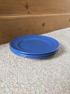 Three Vintage MOORCROFT Powder Blue Side Plates, two sets of three available