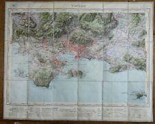Var TOULON & environs Carte entoilée du service Géographique de l'Armée en 1909