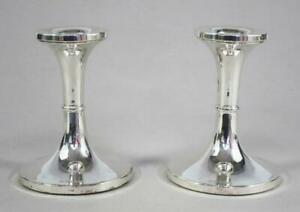 STERLING SILVER CANDLESTICKS by BROADWAY & Co SUPERB PAIR COST £260