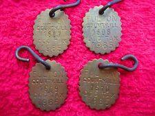 4-CONSECUTIVE NUMBERED 1965 FULTON COUNTY IL, DOG TAX TAG 1607, 1608, 1609, 1610