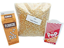 More details for popcorn kernels pack 6kg corn + flavacol seasoning + free popcorn bags x 100