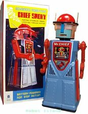 Chief Smoky Robot Tin Toy Blue Battery Operated