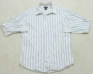 Structure Dress Shirt Long Sleeve Cotton Mens White Blue Mans Striped Top 1-32