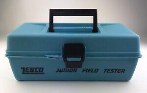 VINTAGE ZEBCO JUNIOR FIELD TESTER TACKLE BOX! Rare Blue