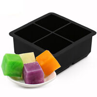 GI- 4 Cavity Silicone Square Shape Ice Cube Mold DIY Freezer Tray Jelly Maker To