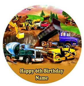 Construction Trucks Edible Image personalised icing cake topper party decoration