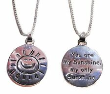 You Are My Sunshine Double Sided Smiling Sun Pendant Necklace