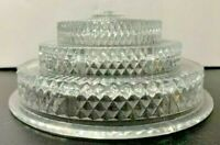 """Vintage 1950s Layered Clear Glass Ceiling Light Fixture Tiered Shade 7"""" Fitter"""