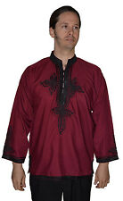 Moroccan Men Tunic Shirt Cafan Casual Handmade Embroidered Cotton MD/LG Burgundy