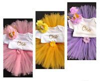 Girls 1st Birthday Outfit Cake Smash Outfit Tutu Skirt Birthday Dress & Crown