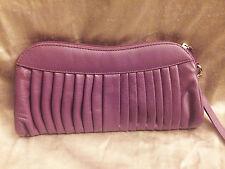 Barney's New York Purple Leather Clutch Bag Purse