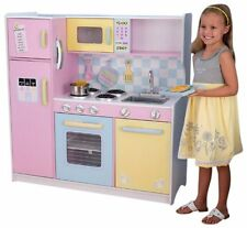 NEW Deluxe KidKraft Large Pastel Pink Wooden Children Kitchen Play Set Pretend