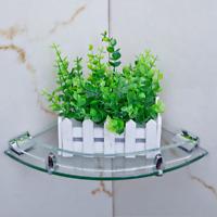 7mm Bathroom Corner Tempered Glass Shower Shelf Storage Soap Dish Rack Holder