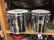 """Vintage Chrome Ludwig 8 & 10"""" Blue Olive Tom Drums- Excellent!!"""