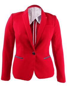 Tommy Hilfiger Women's Peak-Lapel Single-Button Blazer (10, Scarlet)