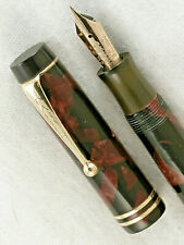 VINTAGE 1930s RED & BLACK MARBLE PARKER DUOFOLD JUNIOR FOUNTAIN PEN  ~ RESTORED!