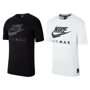 Nike Air Max Mens T Shirt NSW Black White Athletic Cut Jersey Cotton Fitness Tee