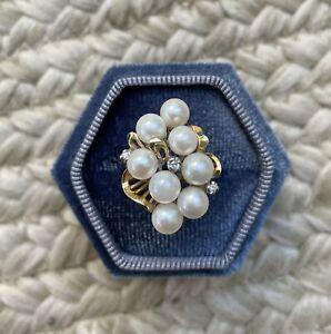 14k Gold vintage Pearl Cluster Ring
