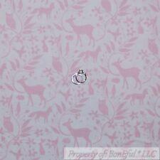BonEful Fabric FQ Cotton Quilt White Pink Pastel Baby Girl Deer Owl Flower Leaf