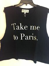 NWT WILDFOX First Date Tank Size S Black Cotton 100%