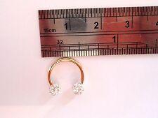 Gold Titanium Cartilage Horseshoe Ring Clear Crystal Balls 16 gauge 16g