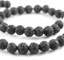 8MM BLACK VOLCANIC BASALTIC LAVA GEMSTONE GRADE A ROUND 8MM LOOSE BEADS 15.5""