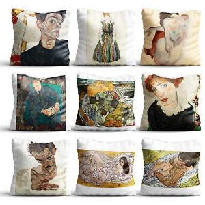 Painting By Egon Schiele High Quality Silk Pillow Cover Case Sofa Decor Cushion