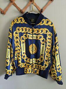 Vintage Chanel 80's Paris Gold Chains Navy Blue Bomber Jacket 1980s Designer EUC
