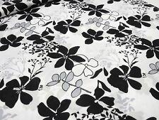 Stoff Viskose Jersey Blumenmuster Blätter Druck weiß schwarz grau Kleiderstoff