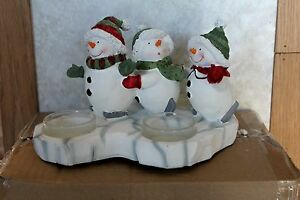 Yankee Candle SNOWMEN SNOWMAN Triple Tea Light Holder ~~Brand New In Box~~