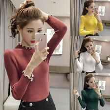 Korean Vogue Women Casual Knit Sweater Solid Slim Blouse Bottoming Top Yellow L