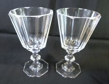 "Pair VILLEROY & BOCH CRYSTAL GOBLETS - ROYALE Pattern  8 Sided Paneled 6.5"" Tall"