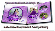 "Photoshop Quinceañera Templates PSD 12x12"" Album Purple"