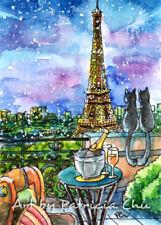 "ACEO LE Art Card Print 2.5""x3.5"" Love in Paris "" Cityscape Cat Art by Patricia"