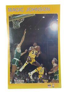 Starline Magic Johnson Poster -1980's - Vintage LA Lakers NBA - 23x35 - Yellow