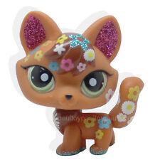 #2341 Littlest Pet Shop LPS Brown Red Sparkle Fox Green Eyes Dog Toy