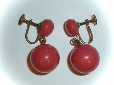 VINTAGE - DANGLING BRIGHT CORAL-PINK GLASS BALLS - SCREW-ON EARRINGS